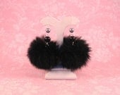 Royal Court Fur Pom Pom Earrings (Black)