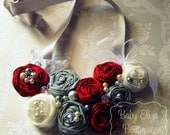 Handmade Collette bib statement necklace vintage style taffeta chiffon cotton rosette embellished  TREASURY FEATURED