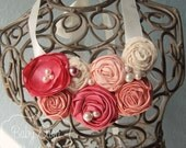 Gemma bib necklace CHILD SIZE statement coral pink peach rosettes satin pearls