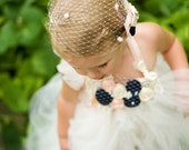 Baileigh bib necklace and fascinator with mini blusher veil set vintage rosette peach cream pearls navy French netting child size