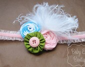 Camryn headband baby toddler size rosettes spring colors m2m matilda jane feathers easter ready to ship