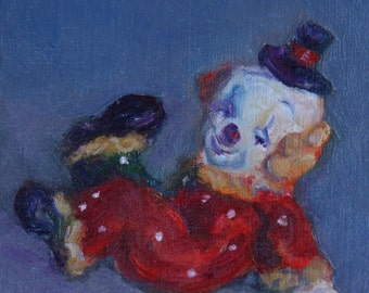Send in the Clowns -  Fun, Little, Print of Original Oil Painting - Harlequin - Archival Print