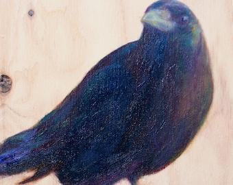 Crow Friend, Print of Original Oil on Wood Painting