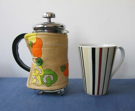 Small French Press Coffee Pot Cosy, veggy vintage upcycled fabric