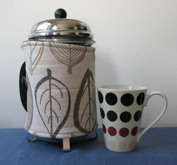Extra large french press coffee pot cozy, upcycled fabric leaves print