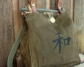 Kanji Peace on Vintage Canvas Military Bag Satchel - Hand Painted