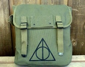 Canvas Backpack - Military Rucksack  Hand Painted Art - SMALL