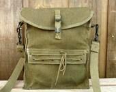 Rare Vintage French Canvas Military Mini Messenger Bag Satchel