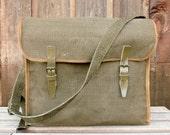 WWII Vintage Linen Military Messenger Bag