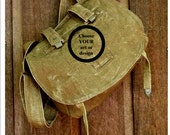 CUSTOM ART on Vintage Linen Czech Military Bag -  Hand Painted