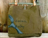 Hand Painted Fifty Shades of Grey Inspired Vintage Swiss Military Satchel