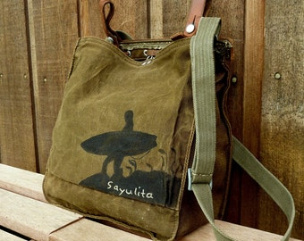 Sayulita Surf on Vintage Canvas Military Bag Satchel - Hand Painted