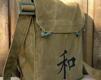 Kanji Peace  on a Vintage Canvas Army Messenger Bag Satchel - Hand Painted