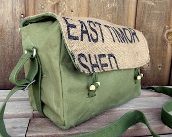 Vintage Canvas Military Messenger Bag - Burlap Flap