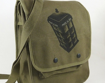 POLICE CALL BOX - Canvas Messenger School or iPad Bag, Hand Painted