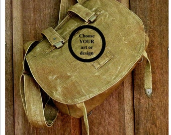 CUSTOM ART on Vintage Linen Hemp Czech Military Messenger Bag -  Hand Painted