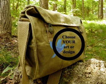 Custom Art Hand Painted on a Vintage Czech Canvas Military Messenger Bag.