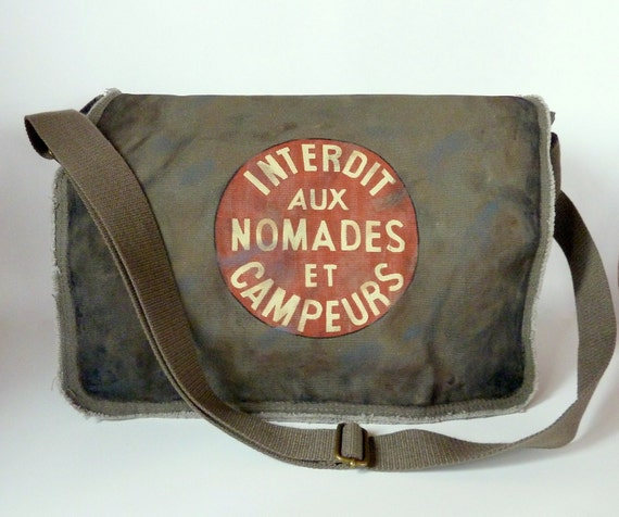 hand Painted military bag high fashion design from Etsy