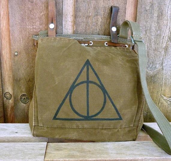 Vintage Military Bag Satchel - Hand Painted
