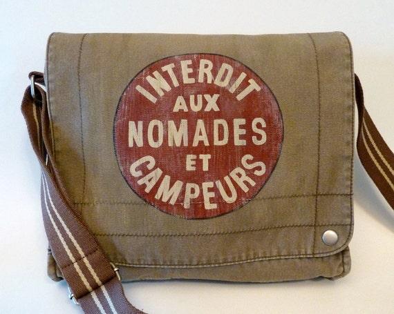 """Hand Painted Canvas Messenger Field Bag Satchel """"Interdit aux Nomades et Campeurs"""""""