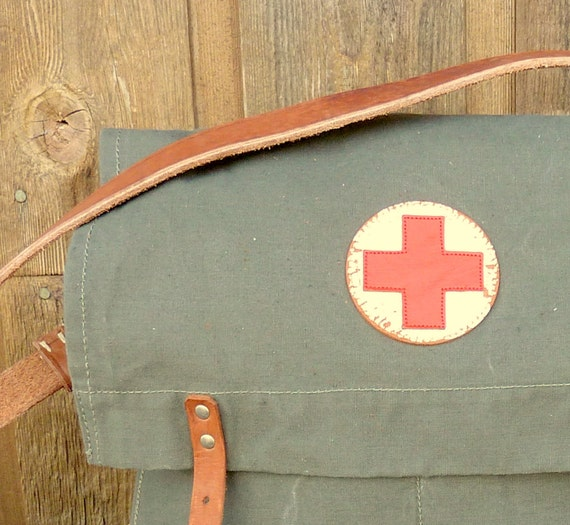 Vintage European Military Red Cross Bag - Messenger Bag style - ONLY ONE