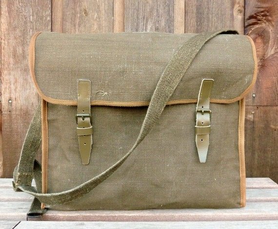 WWII Vintage Linen Military Messenger Bag