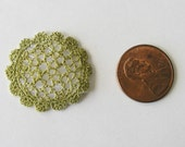 1:12 Lace Doily Olive-Green Dollhouse Miniature Embroidered Handmade Shabby Cottage *Free Shipping*