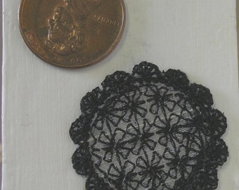 1/12 - Black Lace Doily - Embroidered Lace Scale Miniature - Shabby Cottage