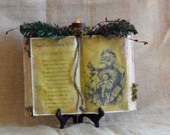 Primitive Santa Claus is Coming Antiqued Book
