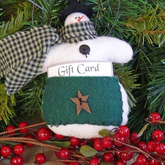 Snowman Gift Card Holder Ornament