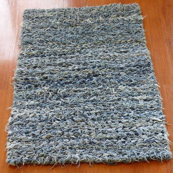 Reversible Twined Denim Blue Handmade Rag Rug