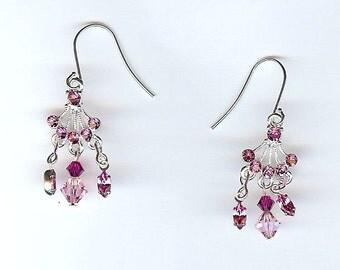 Earrings Pink crystal drop