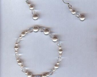 Glass pearl Bracelet earring set