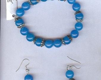 Blue Jade bracelet earrings