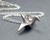 Origami Crane Necklace Sterling Silver Rolo Chain, Silver Bird Necklace, Good Luck