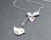 Orchid and Bird Necklace Lariat Sterling Silver Chain