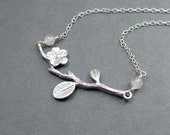Cherry Blossom Branch Necklace with Rose Quartz and Sterling Silver Chain