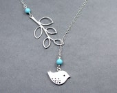 Turquoise Bird and Branch Lariat Necklace Sterling Silver Chain