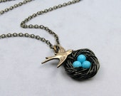 Turquoise Bird Nest Necklace with Swallow in Antiqued Brass