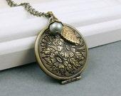 SALE - Evergreen,  Locket Necklace Antique Brass