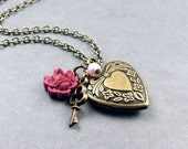 Heart Locket Necklace with Key and Rose
