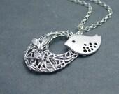 Bird and Nest Necklace, 'Cherish'  Sterling Silver Chain, Nesting Bird Necklace