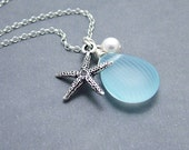 Aqua Glass Silver Starfish Necklace, Starfish Jewelry, Glass Pearl - Sterling Silver Chain