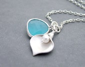 Jewel and Calla Lily Necklace - Opal Aqua Blue Glass - Sterling Silver Chain