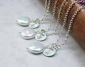 Set of 3 - Coin Pearl Personalized Necklaces, Sterling Silver, Custom Initial Necklace,bridesmaid gift,wedding jewelry