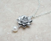 Wedding Jewelry, Lotus Necklace with Pearl on Sterling Silver Rolo Chain, Bridal Jewelry,