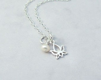 Dainty Sterling Silver Lotus Necklace with Freshwater Pearl, Lotus Flower, simple, everyday jewelry, minimal