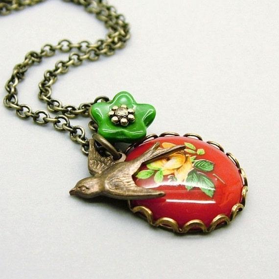 Clara,  Rose Cameo and Bird Necklace - Last One