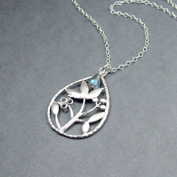 Mystic Flower and Labradorite Necklace Sterling Silver Chain