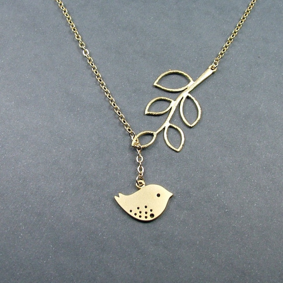 Gold Bird and Branch Lariat Necklace
